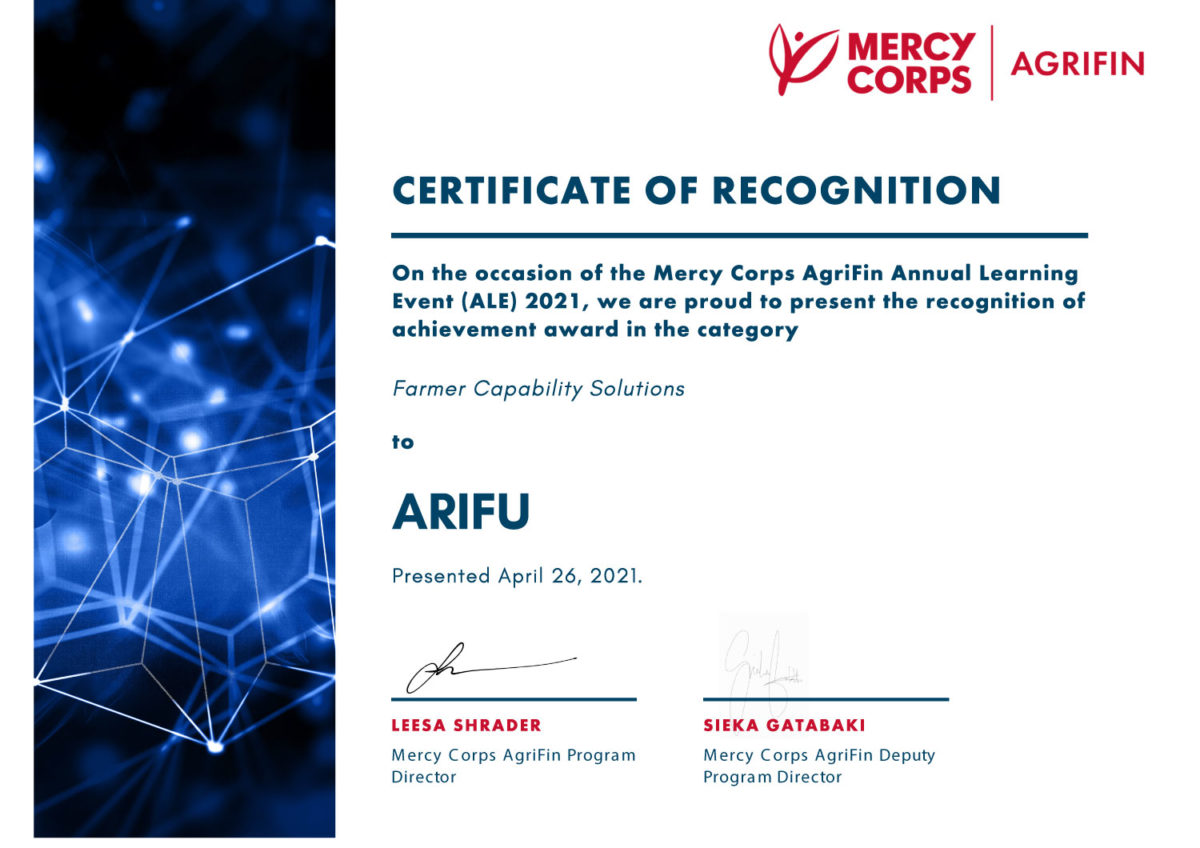 Arifu receives an award at the Mercy Corps Agrifin Annual Learning Event Awards (ALE) 2021
